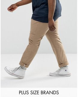 Plus Denton Chinos Straight Fit In Beige