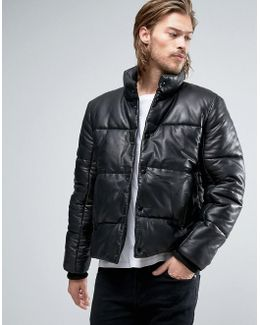 Puffer Leather Jacket In Black