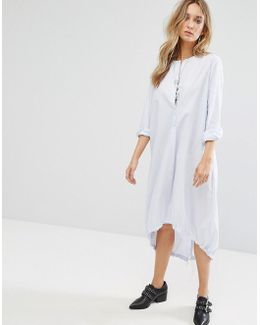 Fine Pinstripe Oversized Midi Shirt Dress