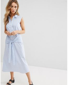 Tie Front Stripe Midi Shirt Dress