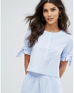 Mini Gingham Tie Sleeve Top