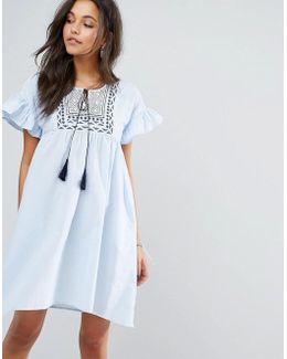 Frill And Embroidered Smock Dress