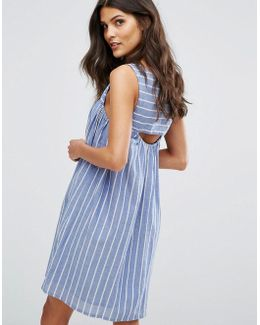 Cut Out Detail Stripe Smock Dress