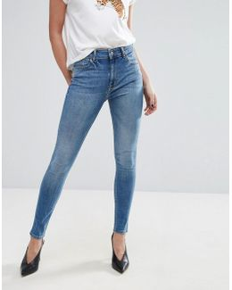 High Rise Washed Skinny Jeans