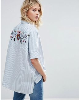 Embroidered Back And Stripe Detail Shirt