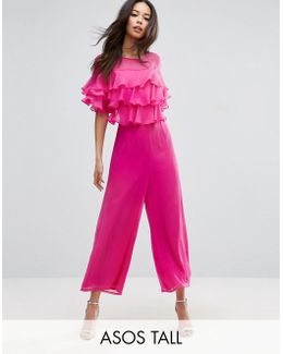 Ruffle Jumpsuit With Culotte Leg