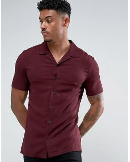 Skinny Viscose Shirt With Revere Collar In Burgundy