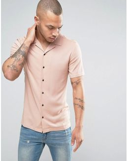 Skinny Viscose Shirt With Revere Collar In Pink