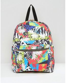 80's Tropical Print Printed Backpack