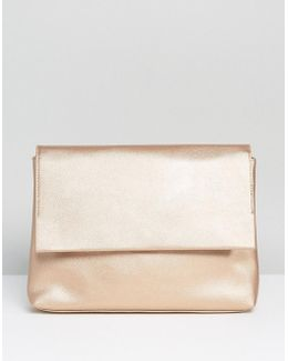 Soft Metallic Flap Over Clutch Bag
