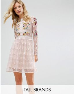 Premium Embroidered Lace Prom Skater Dress