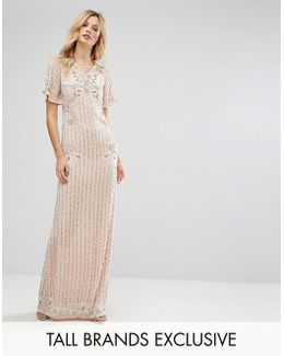Premium Embellished Maxi Dress With Fluted Sleeve Detail