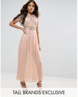 Premium Embellished Top Maxi Dress With Pleated Skirt