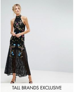Premium Embellished Floral Maxi Dress With Fishtail Skirt Detail