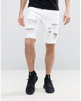 Denim Shorts In Slim Fit With Heavy Rips In White