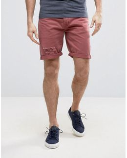 Denim Shorts In Slim Burgundy With Thigh Rip