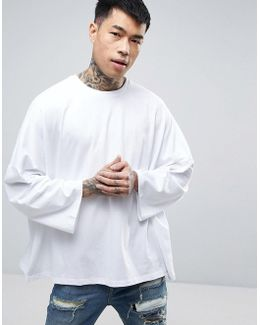 Extreme Oversized Boxy T-shirt With Wide 3/4 Length Sleeves In White