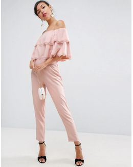 Jumpsuit With Double Ruffle Bardot And Lace Trim Detail