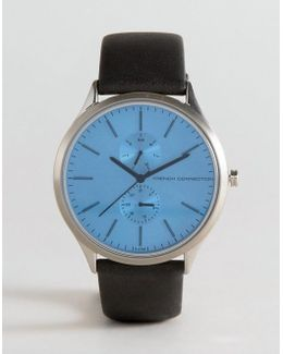 Tinted Glass Watch With Leather Strap