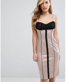 Satin Pencil Dress With Hook & Eye Corset Detail