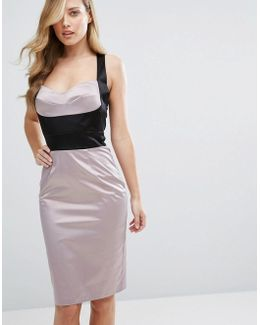 Satin Pencil Dress With Bust Cup Corset Detail