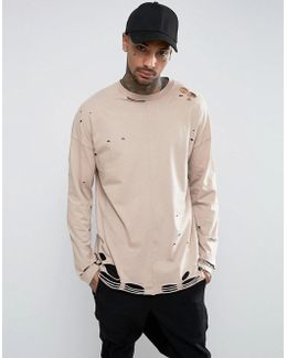 Oversized Long Sleeve T-shirt In Beige With Extreme Distress