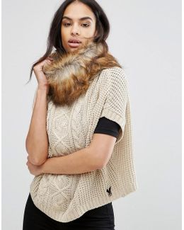 Cable Knit Poncho With Faux Fur Trim