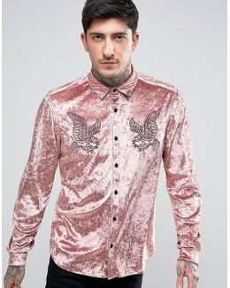 Regular Fit Shirt In Velvet With Embroidery