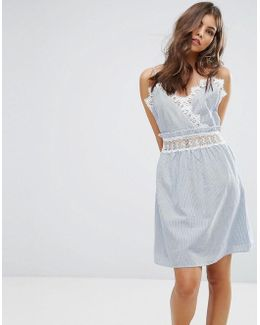 Lace Insert Striped Sun Dress