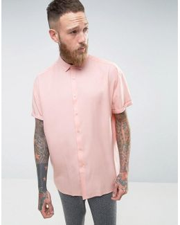 Oversized Peached Tencel Shirt In Pink