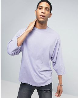 Oversized 3/4 Sleeve T-shirt With Tapered Sleeve In Purple