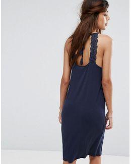 Jersey Lace Detail Midi Dress