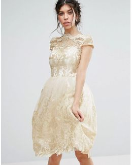 Premium Metallic Lace Midi Prom Dress With Bardot Neck