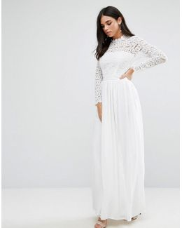 High Neck Crochet Lace Maxi Dress
