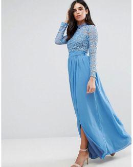 High Neck Crochet Lace Maxi Dress