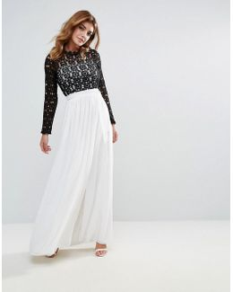 High Neck Maxi Dress With Contrast Crochet Lace