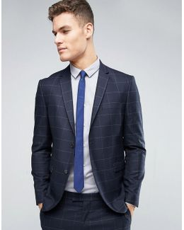 Premium Slim Suit Jacket With Check