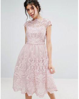 Premium Lace Midi Prom Dress With Bardot Neck
