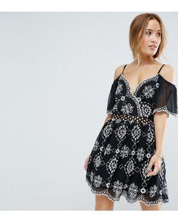Embroidered Cold Shoulder Dress