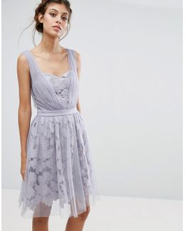 Lace And Tulle Overlay Dress With Gathered Straps