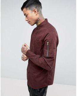 Regular Fit Shirt In Burgundy With Ma1 Sleeve Pocket