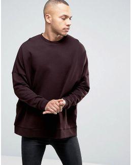 Extreme Oversized Sweatshirt In Burgundy