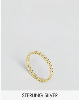 Gold Plated Sterling Silver Braid Ring