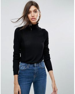 Jumper With Roll Neck And Rib Detail