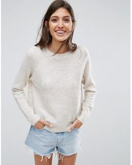 Sweater In Fluffy Yarn With Crew Neck
