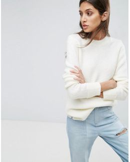 Chunky Sweater With Deep Cuff In Fluffy Yarn