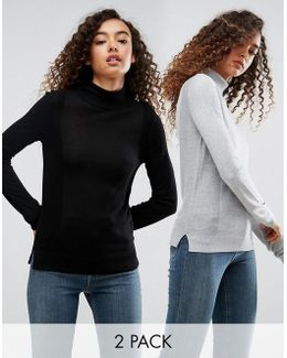 Jumper With Roll Neck And Rib Detail 2 Pack