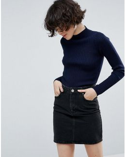 Sweater With Turtleneck In Rib