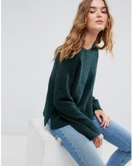 Sweater With Slash Neck In Boucle Yarn