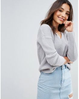 Ultimate Chunky Jumper With V Neck